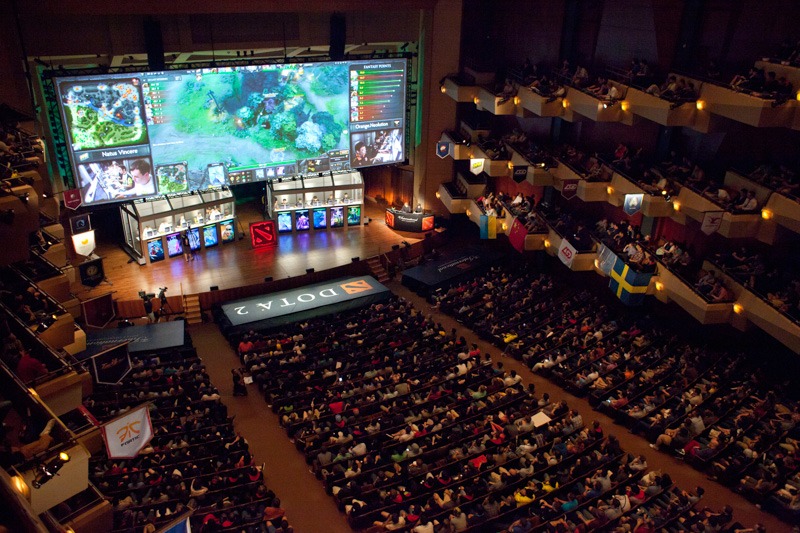 "A packed Benaroya Hall is pictured during ""The International"" Dota 2 video game competition in Seattle, Washington August 11, 2013. Sixteen teams from 12 countries battled for some $2.9 million in prize money, with Swedish team ""The Alliance"" claiming the top prize of $1.4 million after defeating Ukraine's ""Natus Vincere"" in a final watched by an audience of 1,700 at Benaroya Hall and streamed live on the Internet. REUTERS/David Ryder (UNITED STATES)"