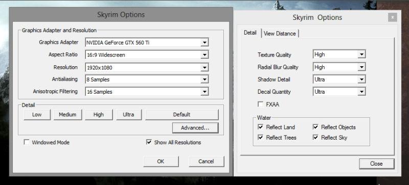 skyrim graphics settings example