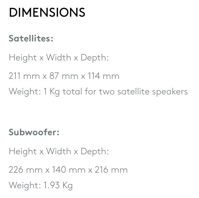 logitech z323 dimensions