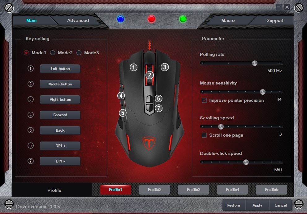 pictek gaming mouse software polling rate