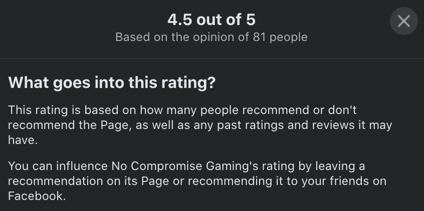 No Compromise Gaming Facebook Reviews